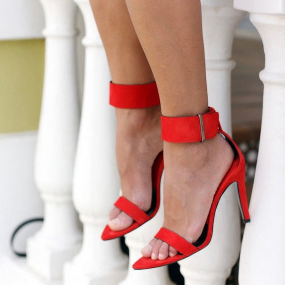 Zara Red Suede Leather High Heel with Ankle Strap